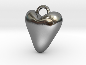 Heart Charm in Polished Silver