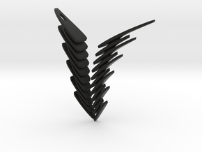 Fly To Heaven...with Melancholy. Stylized Pendant in Black Natural Versatile Plastic