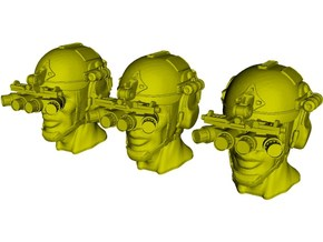 1/24 scale SOCOM operator B helmet & heads x 3 in Smooth Fine Detail Plastic