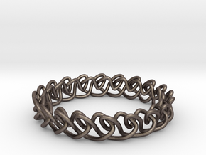 Chain stitch knot bracelet (Circle) in Polished Bronzed Silver Steel: Extra Small