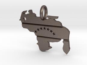 Venezuela Map - Pendant in Polished Bronzed Silver Steel