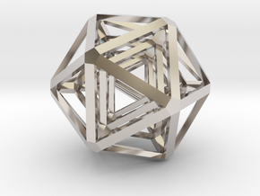 Icosahedron x 3 in Rhodium Plated Brass