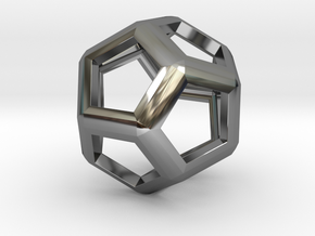 Dodecahedron in Fine Detail Polished Silver