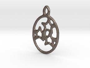 Oval 3 Star earring in Polished Bronzed Silver Steel