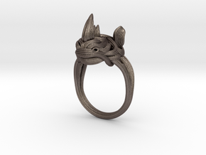 Rhinoceros Ring  in Polished Bronzed Silver Steel: 9 / 59