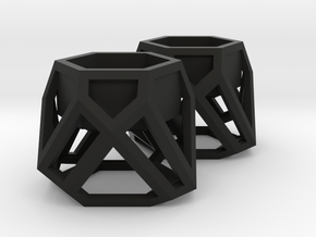 GEOMETRIC TEALIGHT HOLDER (SET OF 2) in Black Natural Versatile Plastic