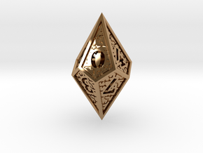 Hedron D10: Closed (Hollow), balanced gaming die in Polished Brass