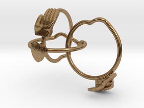 Gimmel Ring in Interlocking Raw Brass: 5 / 49
