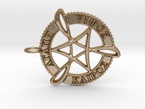 Agape Sophia Kairos Pendant in Polished Gold Steel