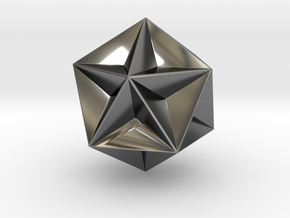 0414 Great Dodecahedron (F&full сolor, 3cm) #001 in Premium Silver