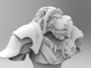 Lion Gladiator Bust in White Natural Versatile Plastic: Medium