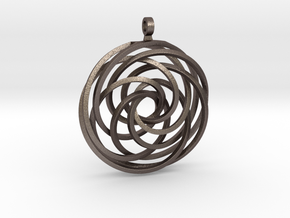 Vortex Pendant in Polished Bronzed Silver Steel