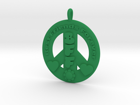 11- BEST FRIENDS FOREVER/ PEACE SIGN  in Green Strong & Flexible Polished: Medium
