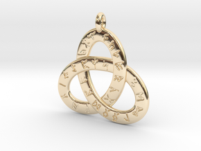 Saxon Rune Poem Triquetra 4.5cm in 14k Gold Plated Brass