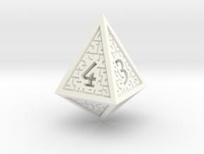 Hedron D4 (Solid), balanced gaming die in White Processed Versatile Plastic