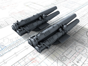 """1/350 V & W Class Destroyer Triple 21"""" Tubes x2 in Smoothest Fine Detail Plastic"""