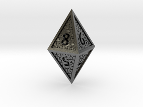 Hedron D8 Closed (Hollow), balanced gaming die in Polished Silver