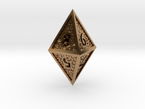 Hedron D8 Closed (Hollow), balanced gaming die in Polished Brass