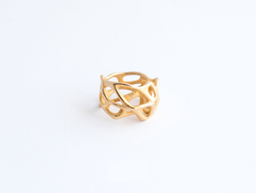 Voronoi Ring Size US 5.0 in Polished Gold Steel