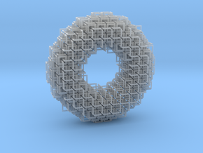 3D square chainmaille donut in Smooth Fine Detail Plastic: Medium