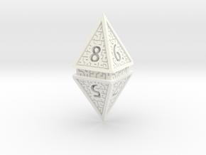 Hedron D8 (Solid), balanced gaming die in White Processed Versatile Plastic
