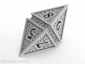 Hedron D8 (Solid), balanced gaming die in Polished Metallic Plastic
