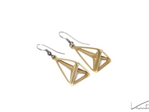 Hypertriangle earrings in Natural Brass