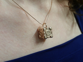 Portal Companion Cube Pendant in 14k Rose Gold Plated