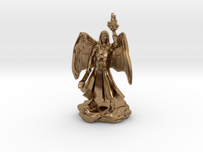 Female Aasimar Cleric With Mace in Natural Brass