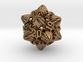 Floral Dice – D20 Spindown Life Counter die in Natural Brass