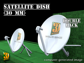 Satellite dish (30mm) - double pack in Frosted Ultra Detail