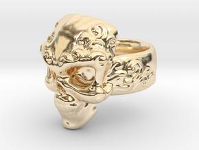 Elemental Skull Ring 'Water'  in 14K Yellow Gold: 6 / 51.5