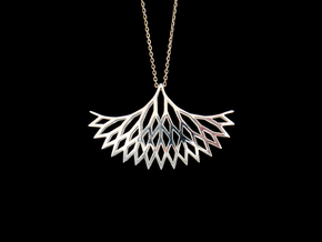 Geometric tree branches pendant in Polished Silver