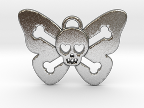 Cute Butterfly Skull in Natural Silver