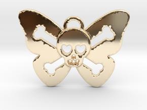 Cute Butterfly Skull in 14k Gold Plated Brass