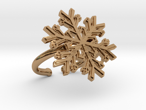 Snowflake Ring 1 d=16.5mm Adjustable h21d165a in Polished Brass