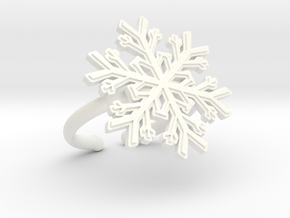 Snowflake Ring 1 d=16.5mm Adjustable h21d165a in White Processed Versatile Plastic
