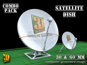 Satellite dish (30+60mm) - combo in Smooth Fine Detail Plastic