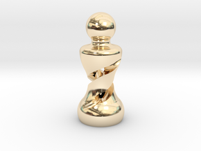 Chess Pawn Double Helix in 14k Gold Plated Brass: Large
