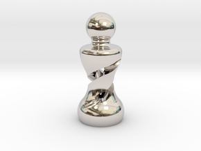 Chess Pawn Double Helix in Rhodium Plated Brass: Large
