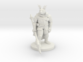 Were Bear Knight with Antlers in White Natural Versatile Plastic