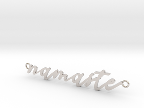 Namaste -- Calligraphy Pendant in Rhodium Plated Brass