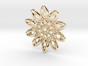 Fractal Flower Pendant III in 14K Yellow Gold
