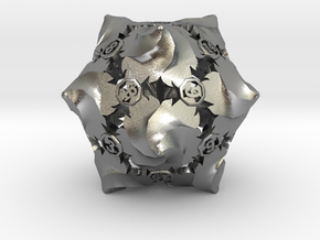 D20 Balanced - Fire (Small Numbers) in Natural Silver