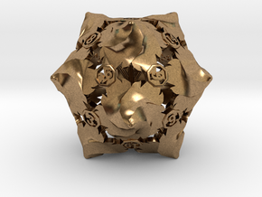 D20 Balanced - Fire (Small Numbers) in Natural Brass