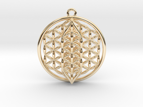 """Flower Of Life w/ 15 Sephirot Tree of Life 1.5"""" in 14k Gold Plated Brass"""