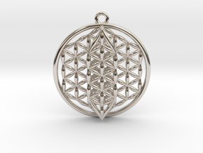 Flower Of Life w/ 15 Sephirot Tree of Life Small in Rhodium Plated Brass