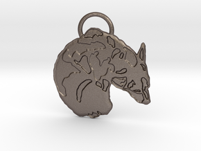 Corgi Croissant (with ring ) in Polished Bronzed Silver Steel