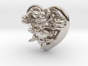 Lovebug Necklace Charm in Rhodium Plated Brass
