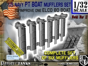 1/32 Elco PT Boat Mufflers Set001 in Smooth Fine Detail Plastic